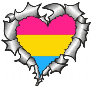 Ripped Torn Metal Heart with LGBT Pansexual Pride Flag Motif External Car Sticker 105x100mm